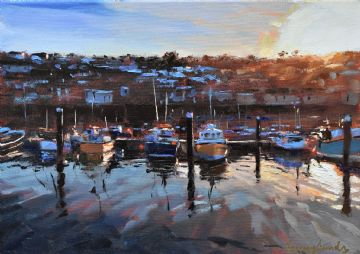 Jeremy Sanders Original Oil Painting Newlyn Harbour Cornwall